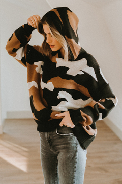 Elan  Oversized Camo Soft Knit Hooded Pullover - Product List Image