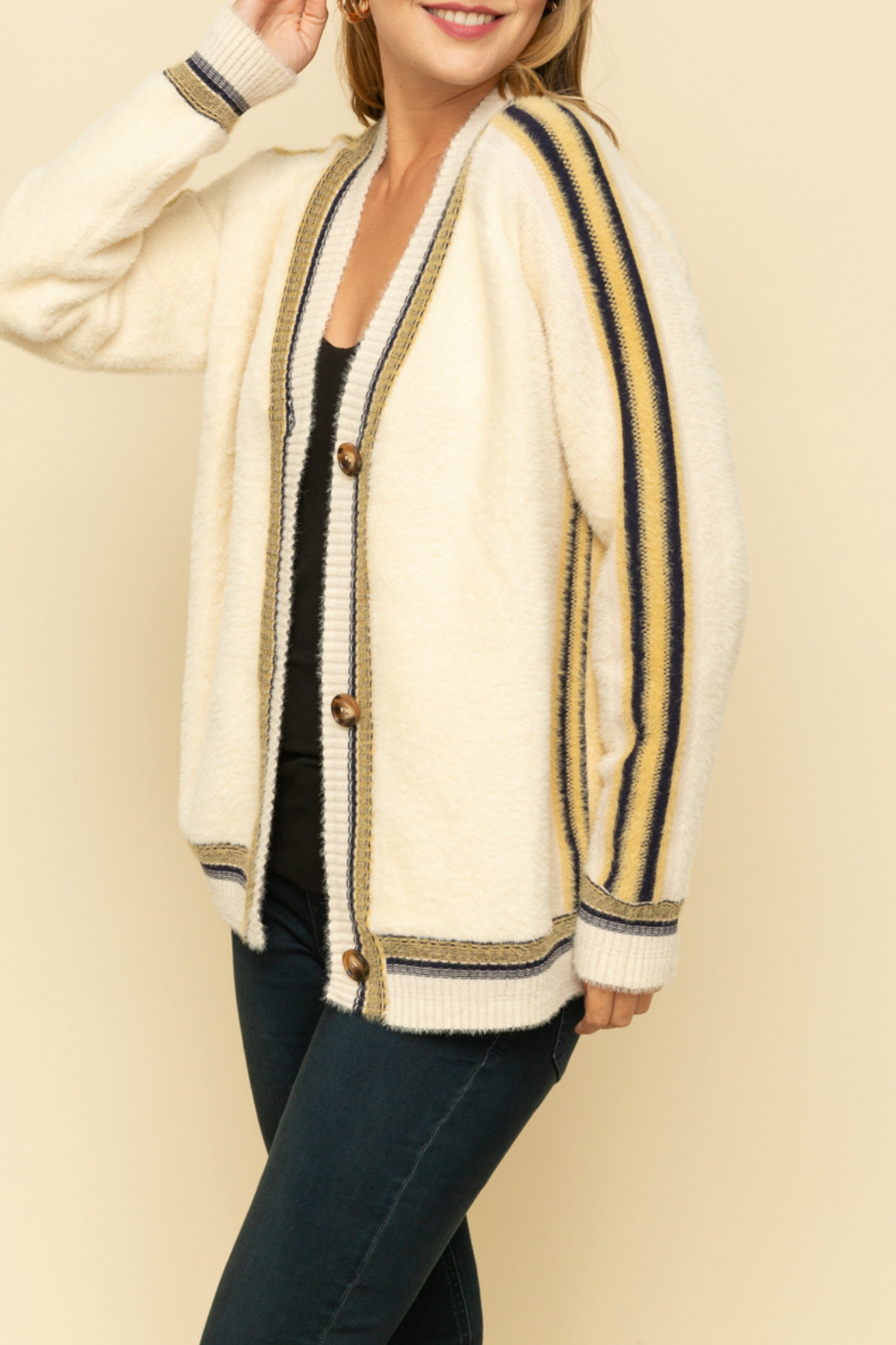 Mystree Oversized cardigan with colorful stripe - Front Full Image