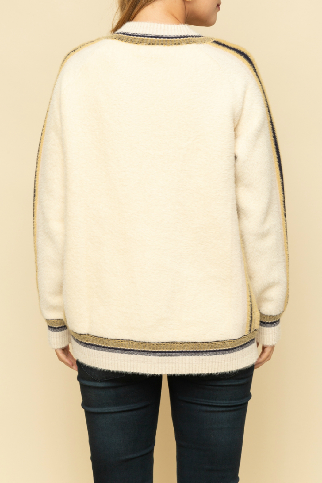 Mystree Oversized cardigan with colorful stripe - Side Cropped Image