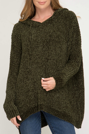 She + Sky Oversized Chenille Pullover w Hood - Product Mini Image