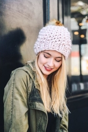 Leto oversized chunky pom beanie - Front cropped