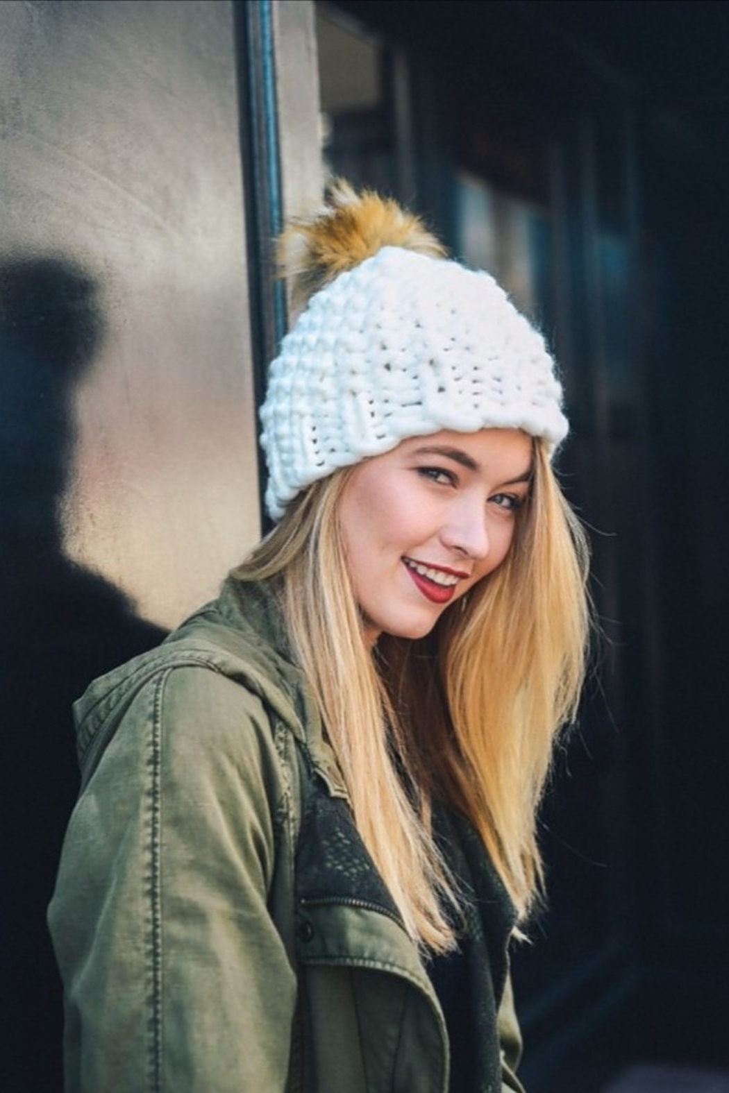 Leto oversized chunky pom beanie - Front Cropped Image