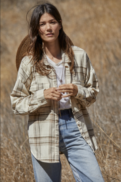 By Together  Oversized Cream Flannel Shirt - Product List Image