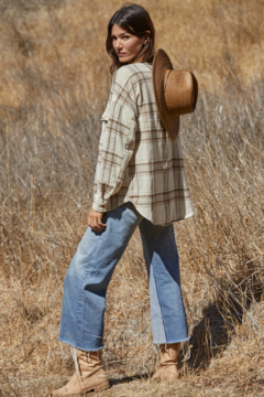 By Together  Oversized Cream Flannel Shirt - Alternate List Image