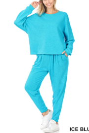 Lyn-Maree's  Oversized Drop Shoulders Lounge Set - Front cropped