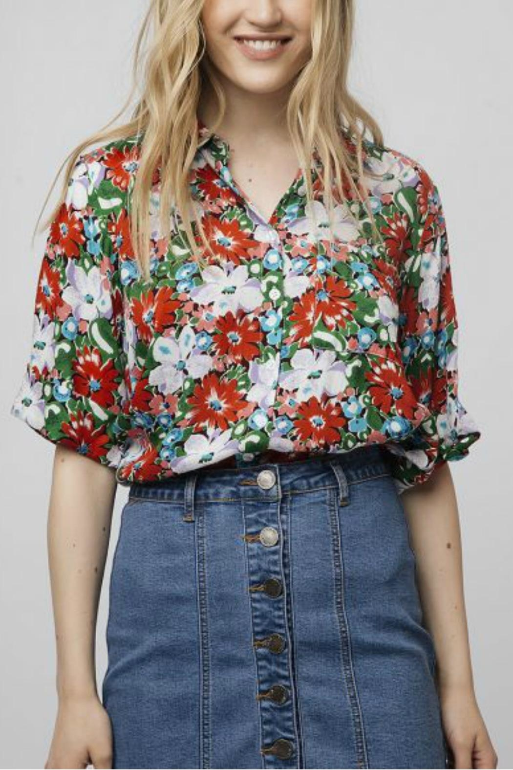 Compania Fantastica Oversized Floral Blouse - Front Cropped Image