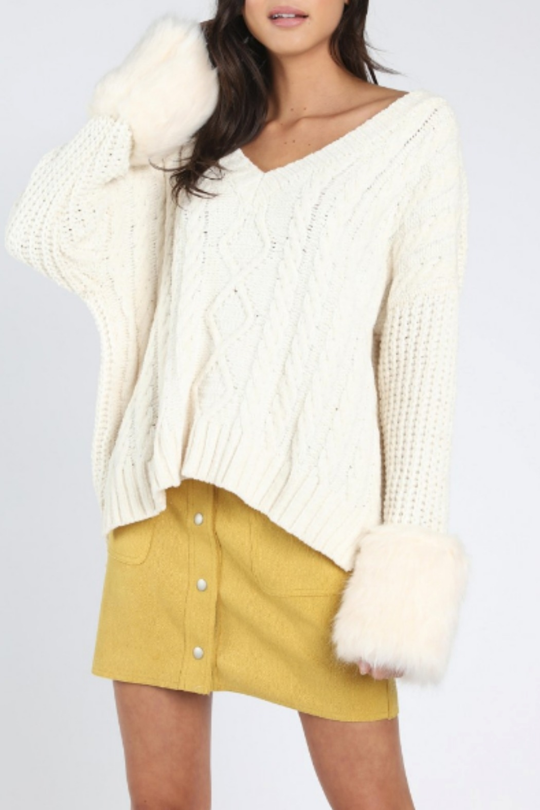 Honey Punch Oversized Fur Cuff Sweater - Front Cropped Image