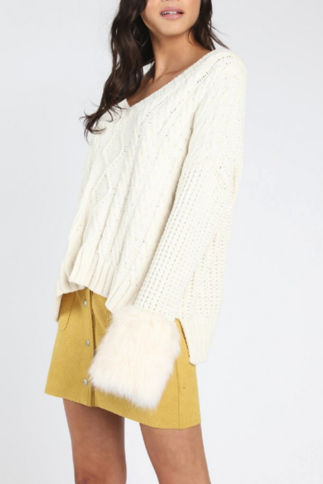 Honey Punch Oversized Fur Cuff Sweater - Front Full Image