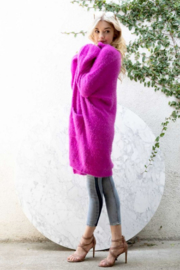 Olivaceous  Oversized Fuzzy Cardigan - Side cropped