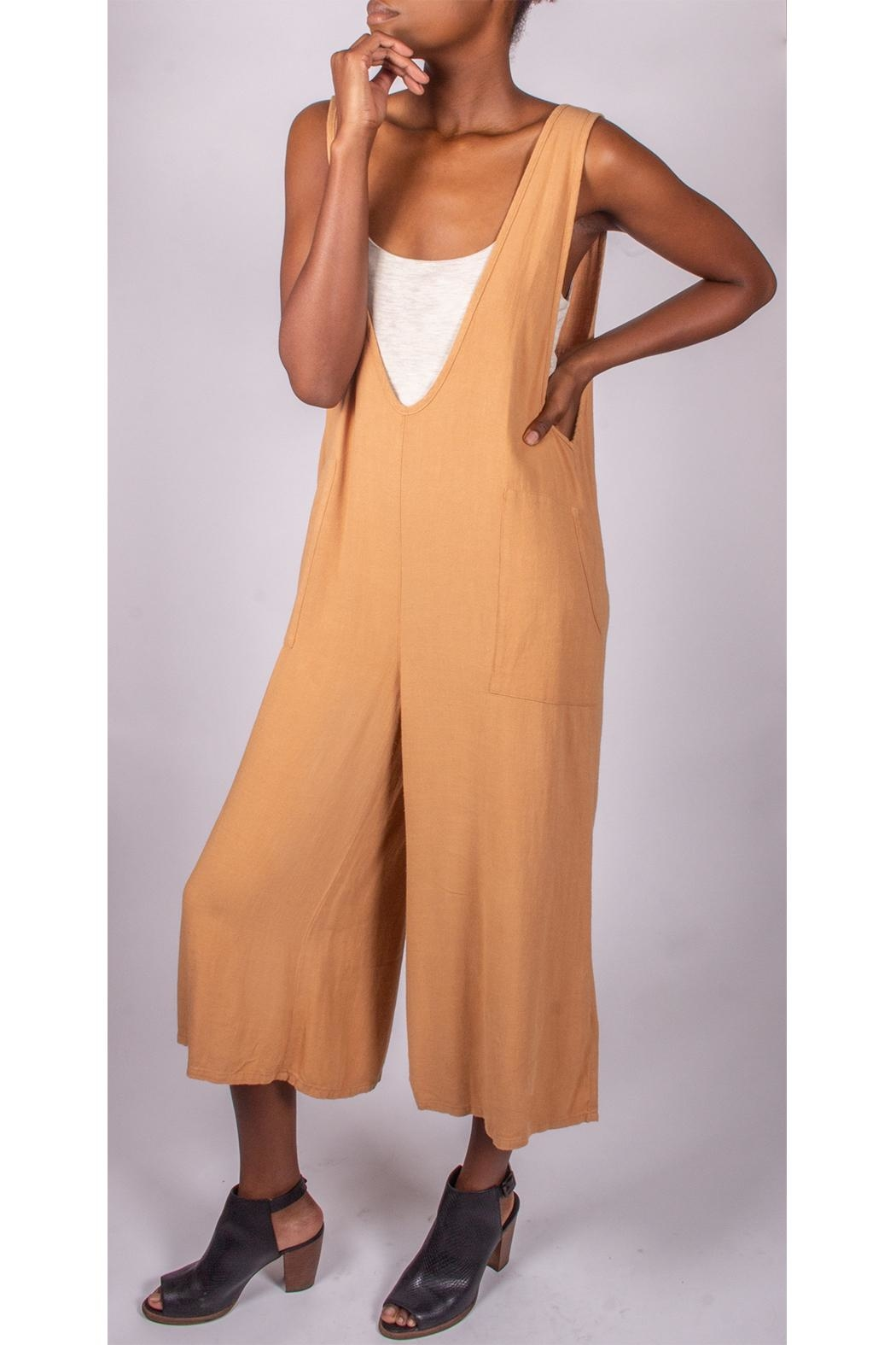 Final Touch Oversized Jumpsuit Camel - Back Cropped Image
