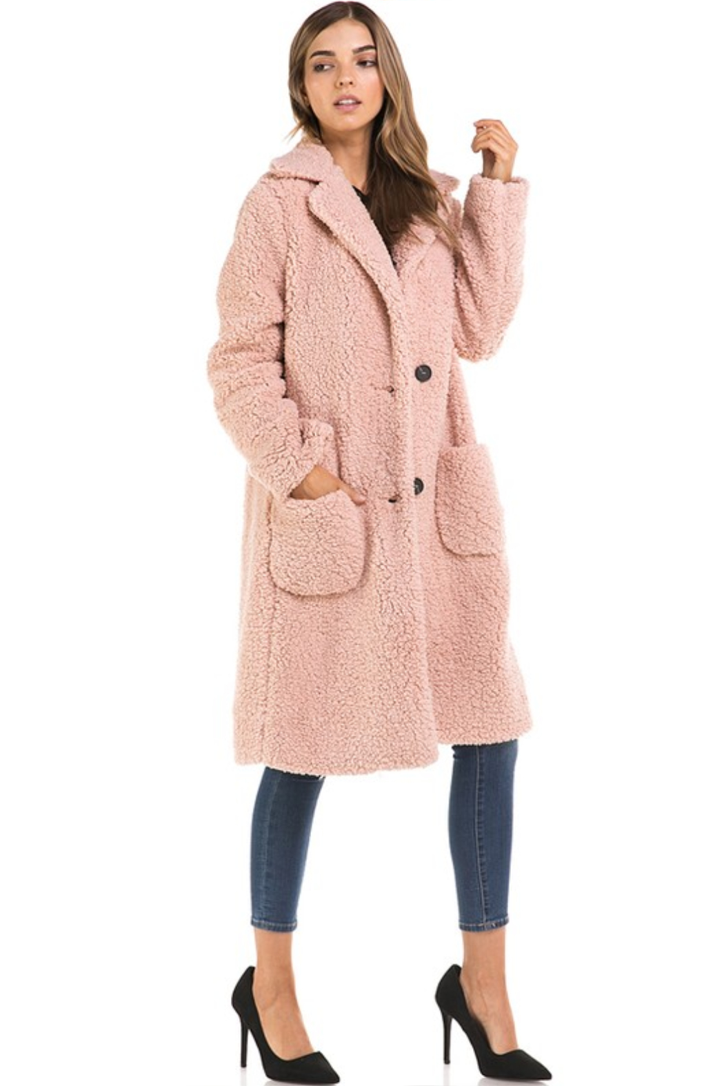 Love Tree  Oversized Long Teddy Coat - Side Cropped Image