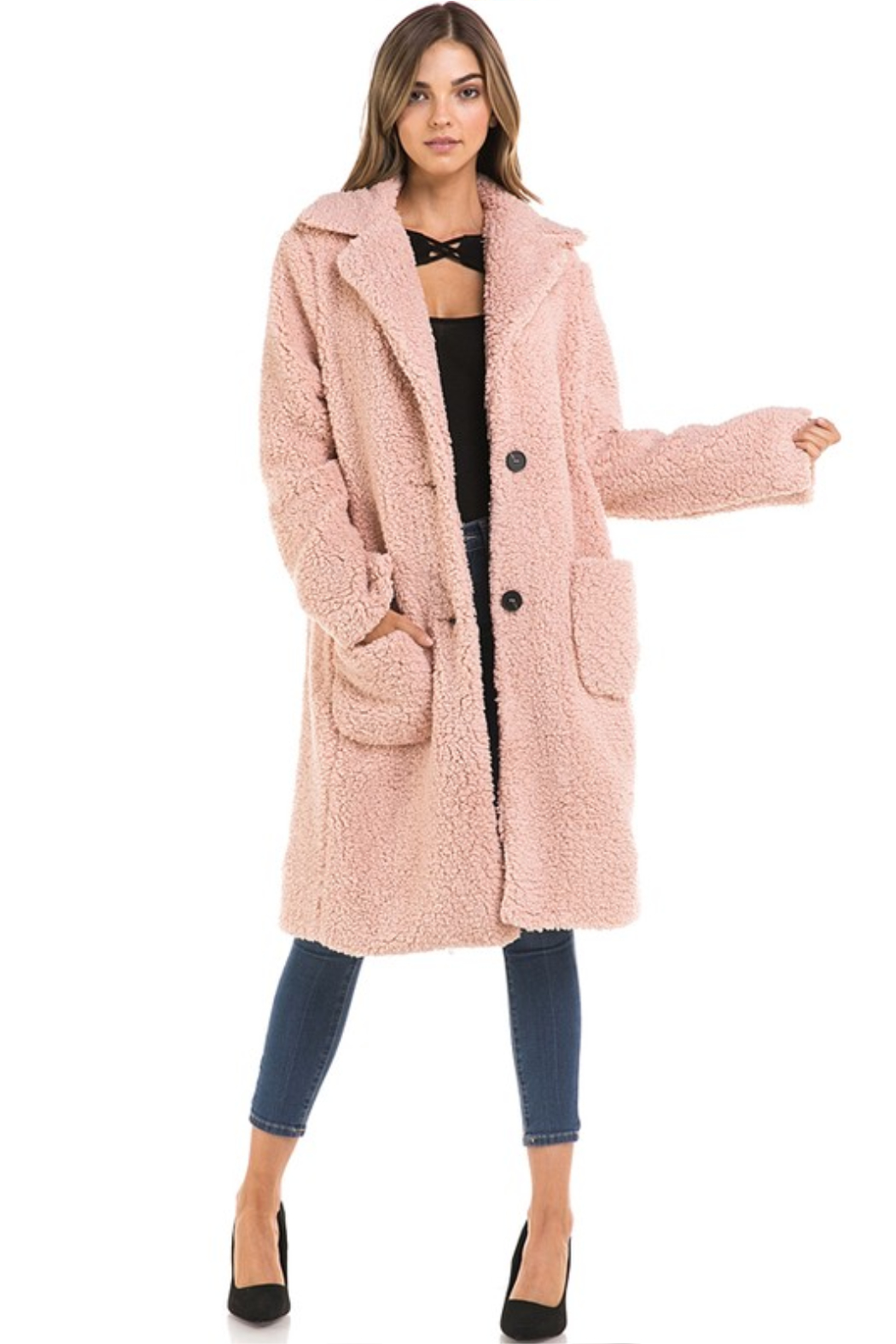 Love Tree  Oversized Long Teddy Coat - Front Cropped Image