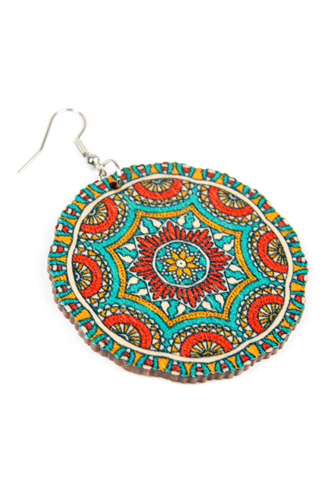 Riah Fashion Oversized-Mandala Disc-Wood Drop-Earrings - Front Full Image