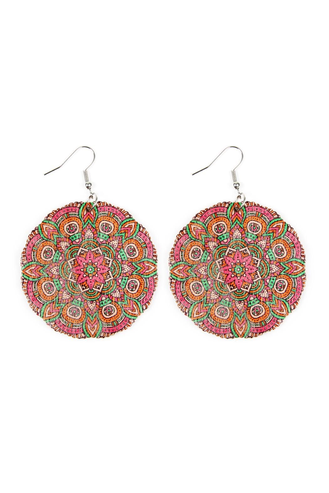 Riah Fashion Oversized-Mandala Disc-Wood Drop-Earrings - Front Cropped Image