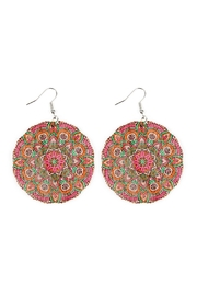 Riah Fashion Oversized-Mandala Disc-Wood Drop-Earrings - Front cropped