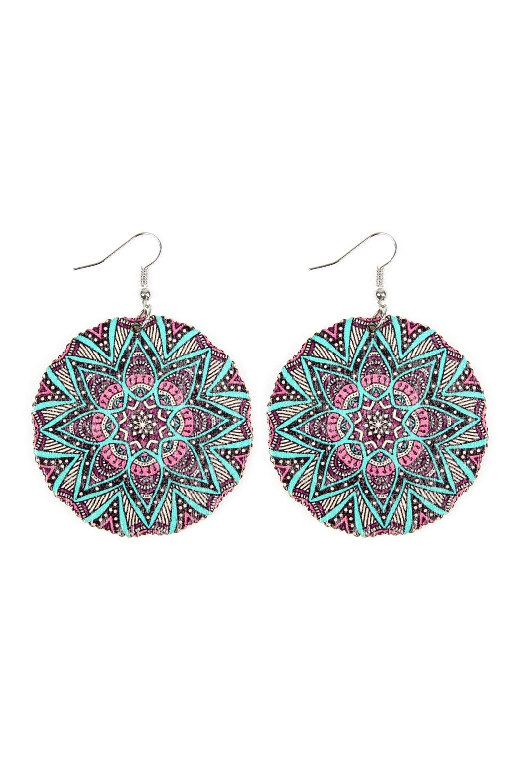 Riah Fashion Oversized-Mandala Disc-Wood Drop-Earrings - Main Image