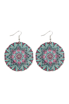 Shoptiques Product: Oversized-Mandala Disc-Wood Drop-Earrings