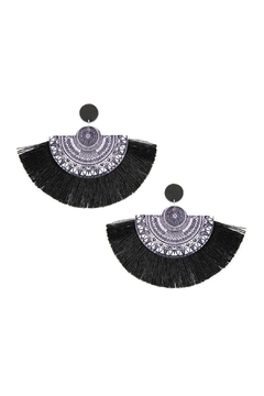 Shoptiques Product: Oversized-Mandala-Fan Wood-Tassel Drop-Earrings