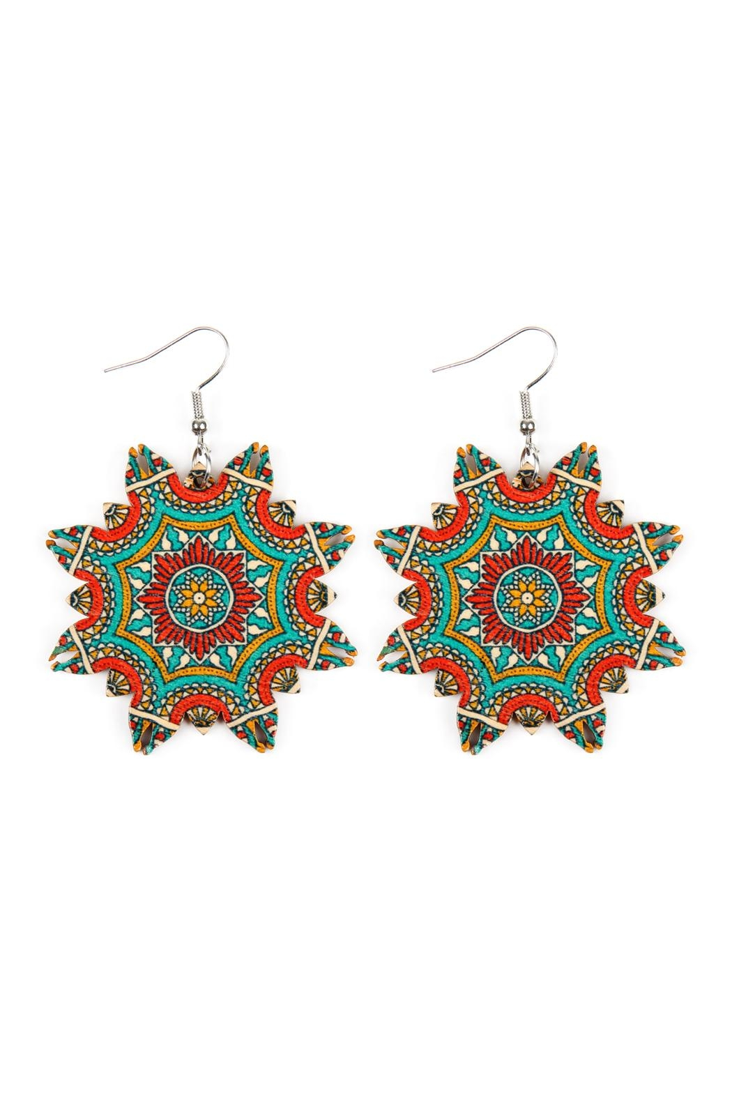 Riah Fashion Oversized-Mandala-Ornament Wood-Drop-Earrings - Front Cropped Image