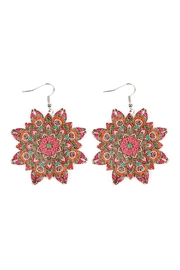 Riah Fashion Oversized-Mandala-Ornament Wood-Drop-Earrings - Front cropped