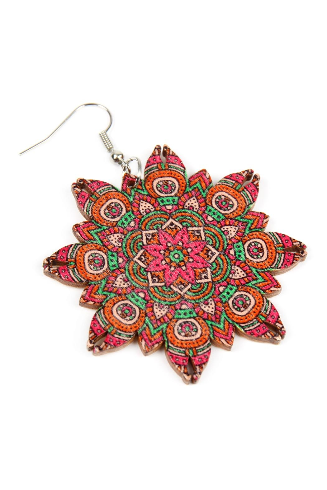 Riah Fashion Oversized-Mandala-Ornament Wood-Drop-Earrings - Front Full Image