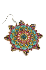 Riah Fashion Oversized-Mandala-Ornament Wood-Drop-Earrings - Front full body