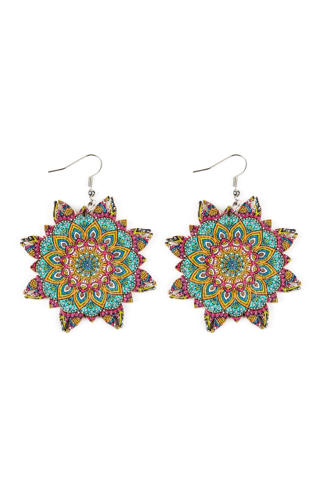 Riah Fashion Oversized-Mandala-Ornament Wood-Drop-Earrings - Main Image