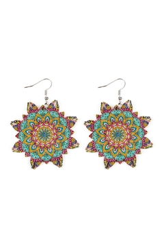 Shoptiques Product: Oversized-Mandala-Ornament Wood-Drop-Earrings