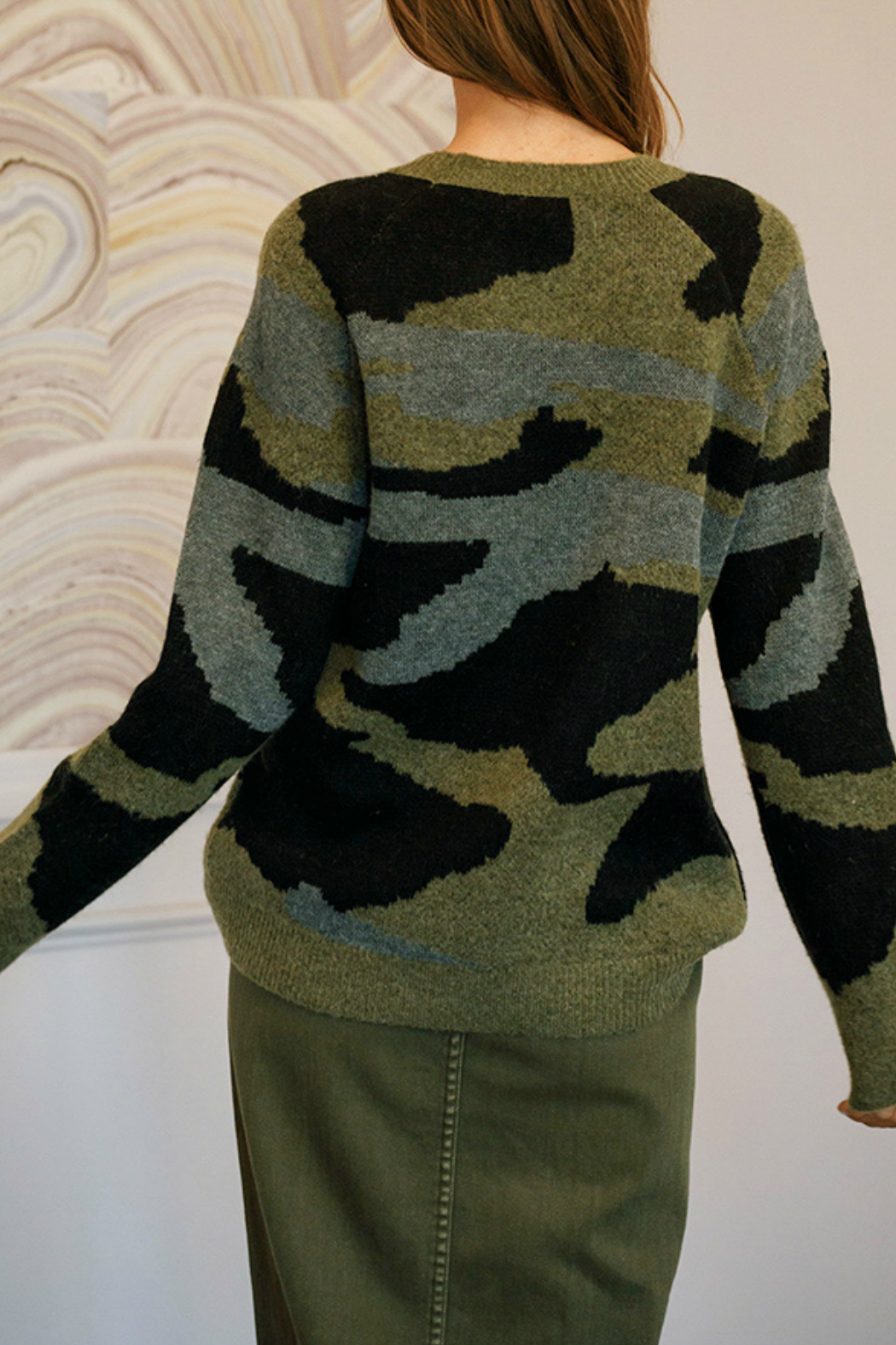 Mustard Seed  Oversized military sweater - Side Cropped Image