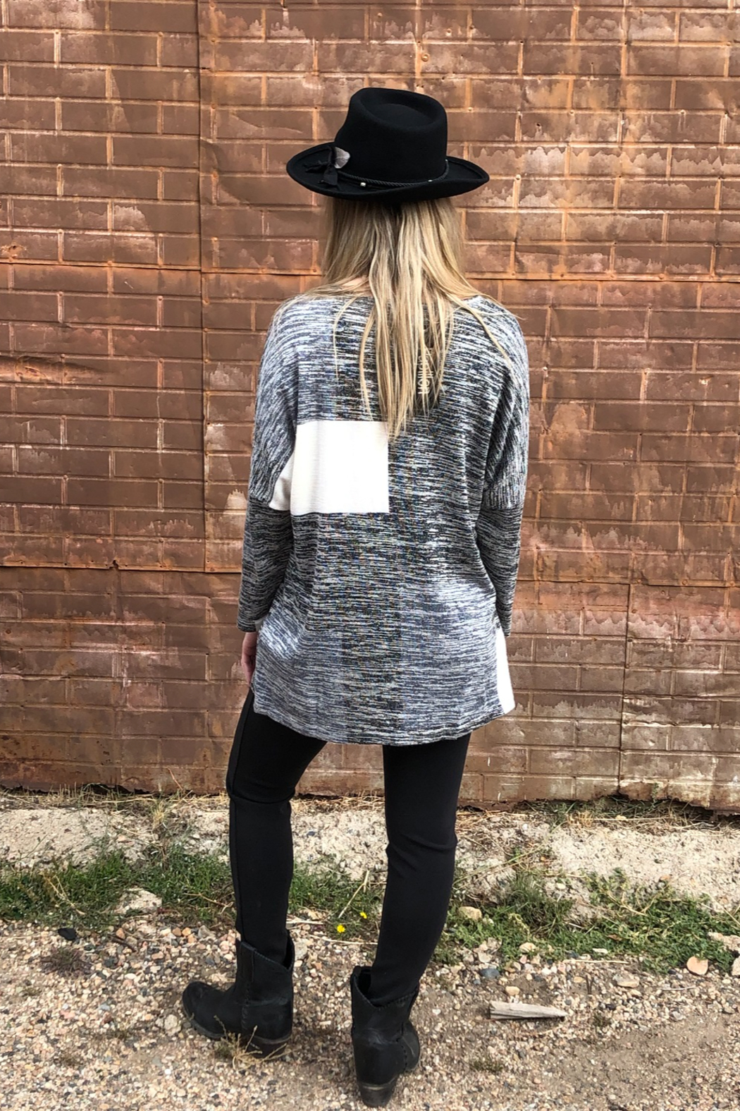 Papillon Oversized Patch Sweater - Back Cropped Image