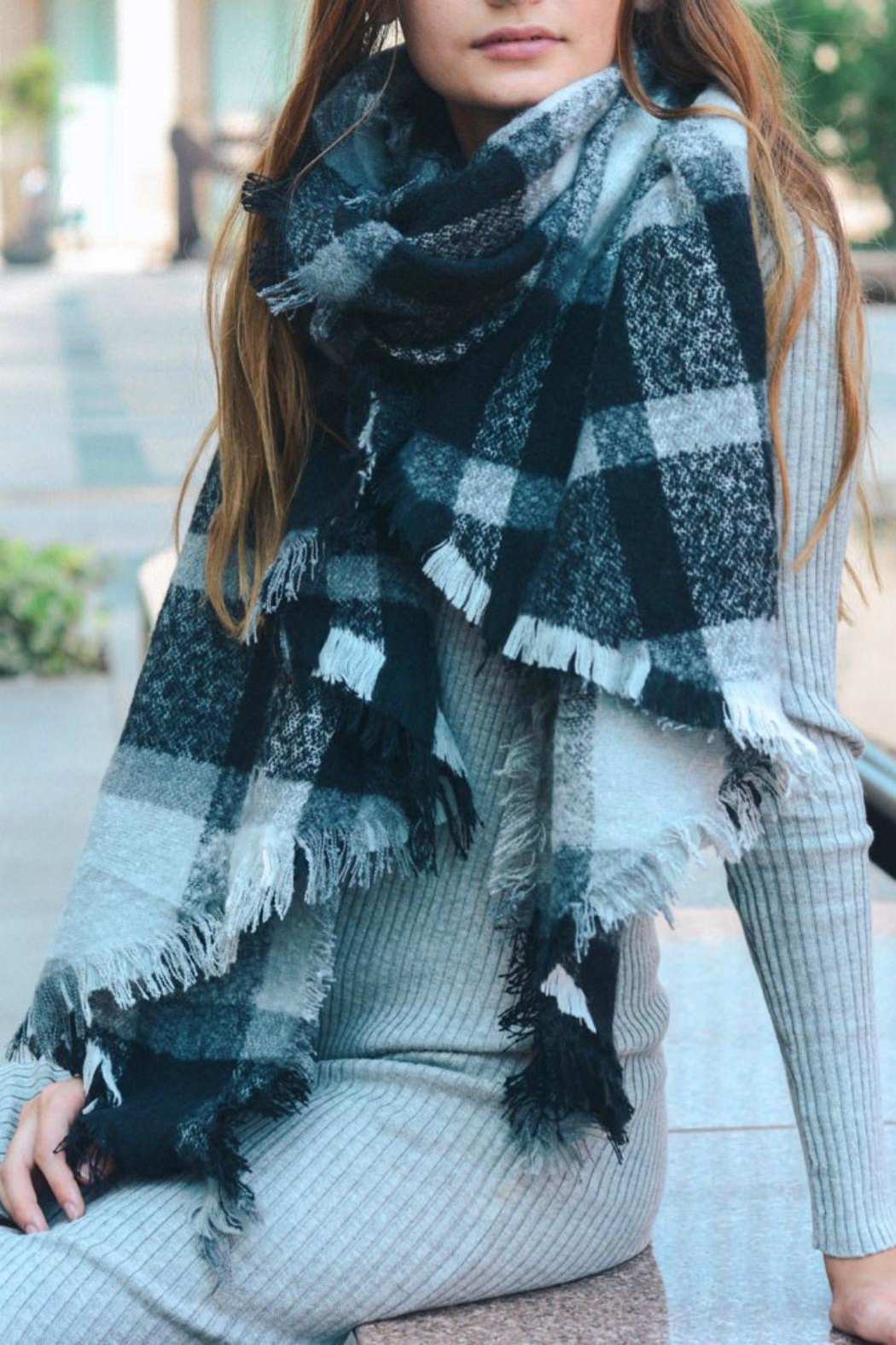 Pretty Little Things Oversized Plaid Scarf - Front Cropped Image