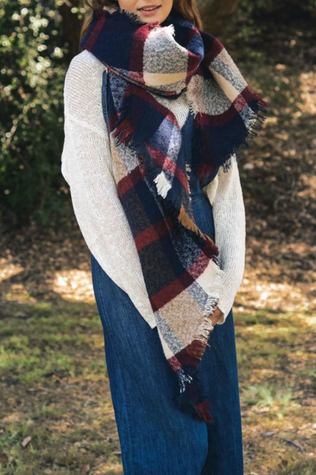 Pretty Little Things Oversized Plaid Scarf - Main Image