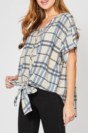Entro Oversized Plaid Tie-Front - Product Mini Image