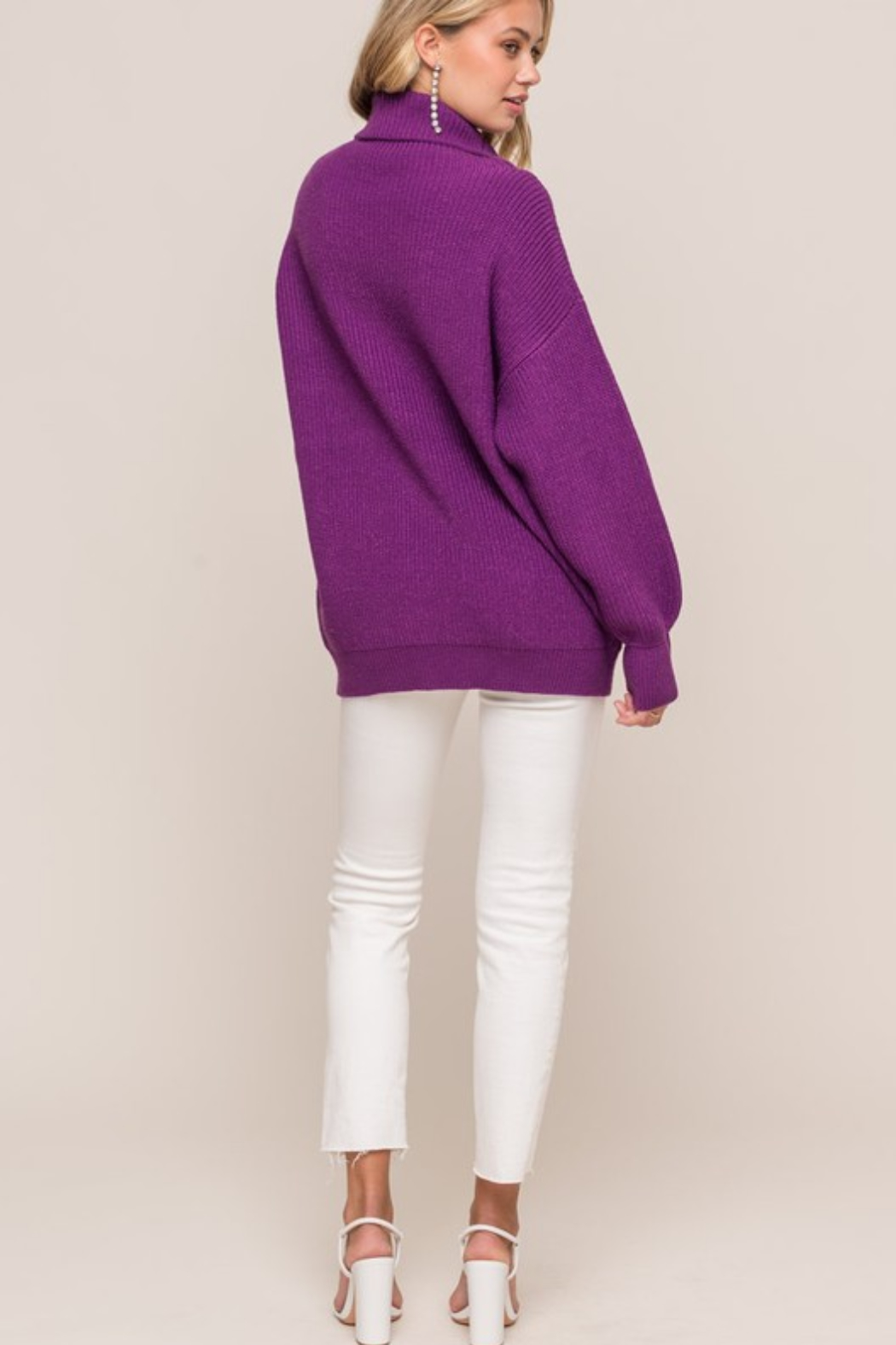 Olivaceous  Oversized Ribbed Turtleneck - Side Cropped Image