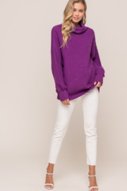 Olivaceous  Oversized Ribbed Turtleneck - Front full body