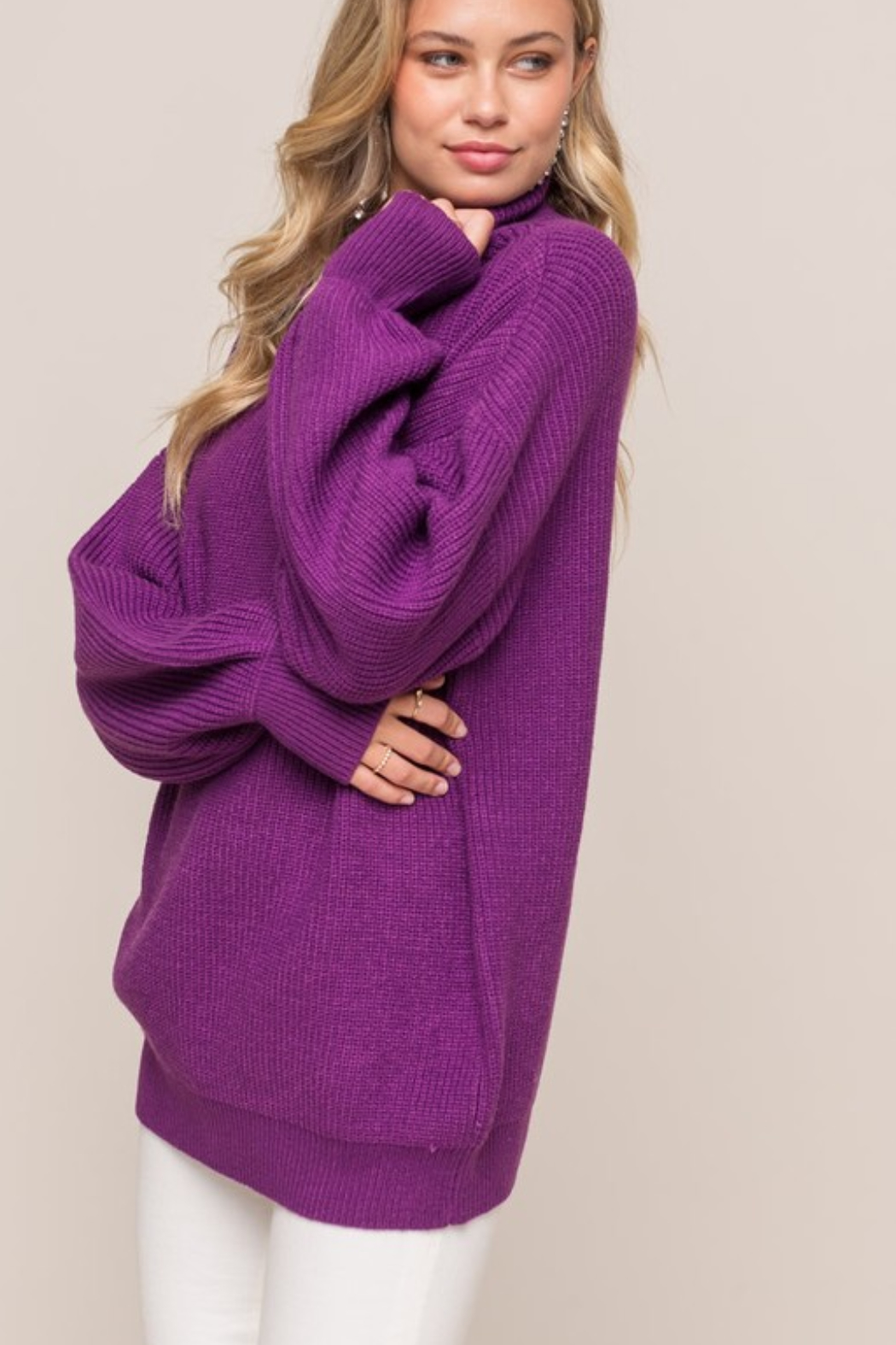 Olivaceous  Oversized Ribbed Turtleneck - Front Cropped Image
