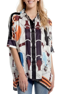 Gracia Oversized Satin/print Shirt - Product List Image
