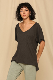 R+D emporium  Oversized Slub V-Neck Pocket Tee - Product Mini Image