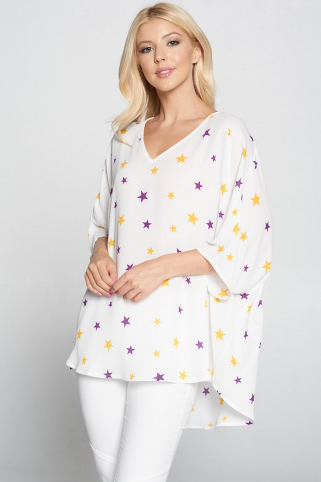 Adrienne Oversized Star Print Top - Front Cropped Image
