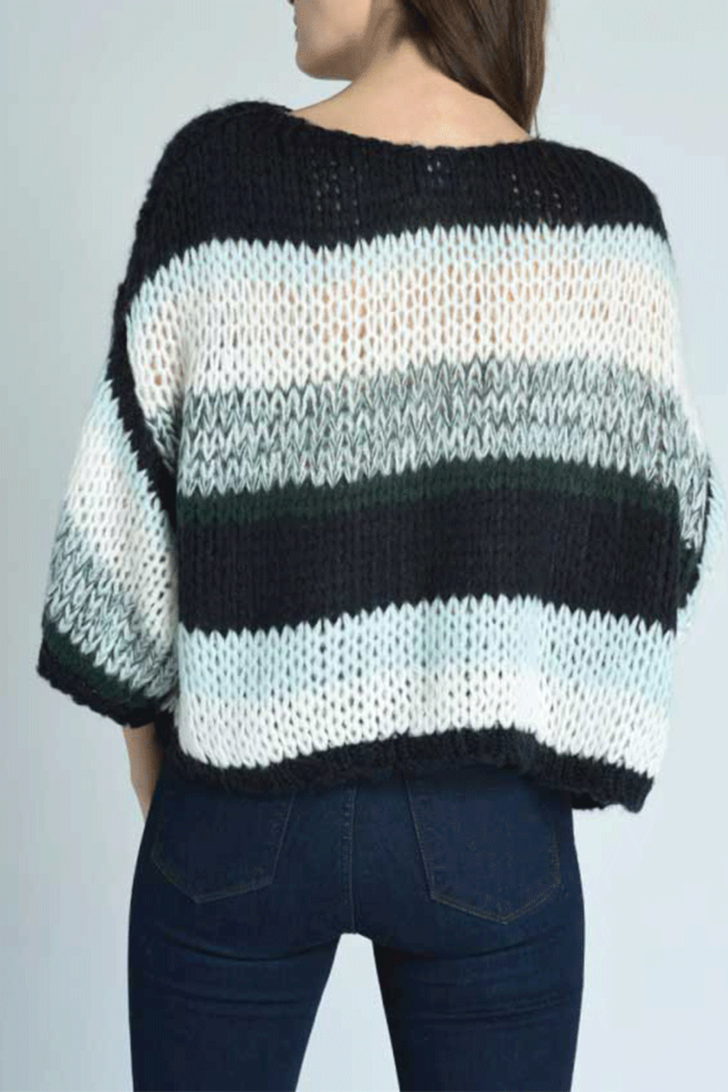 Press Oversized Stripe Sweater - Back Cropped Image