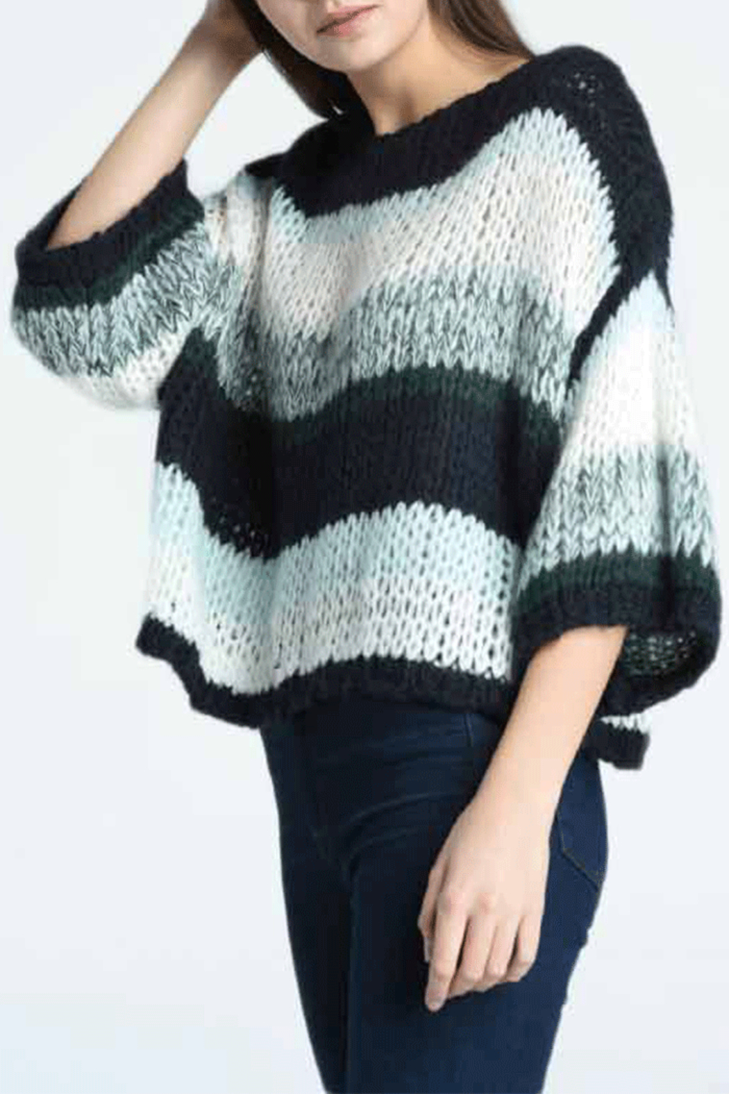 Press Oversized Stripe Sweater - Side Cropped Image