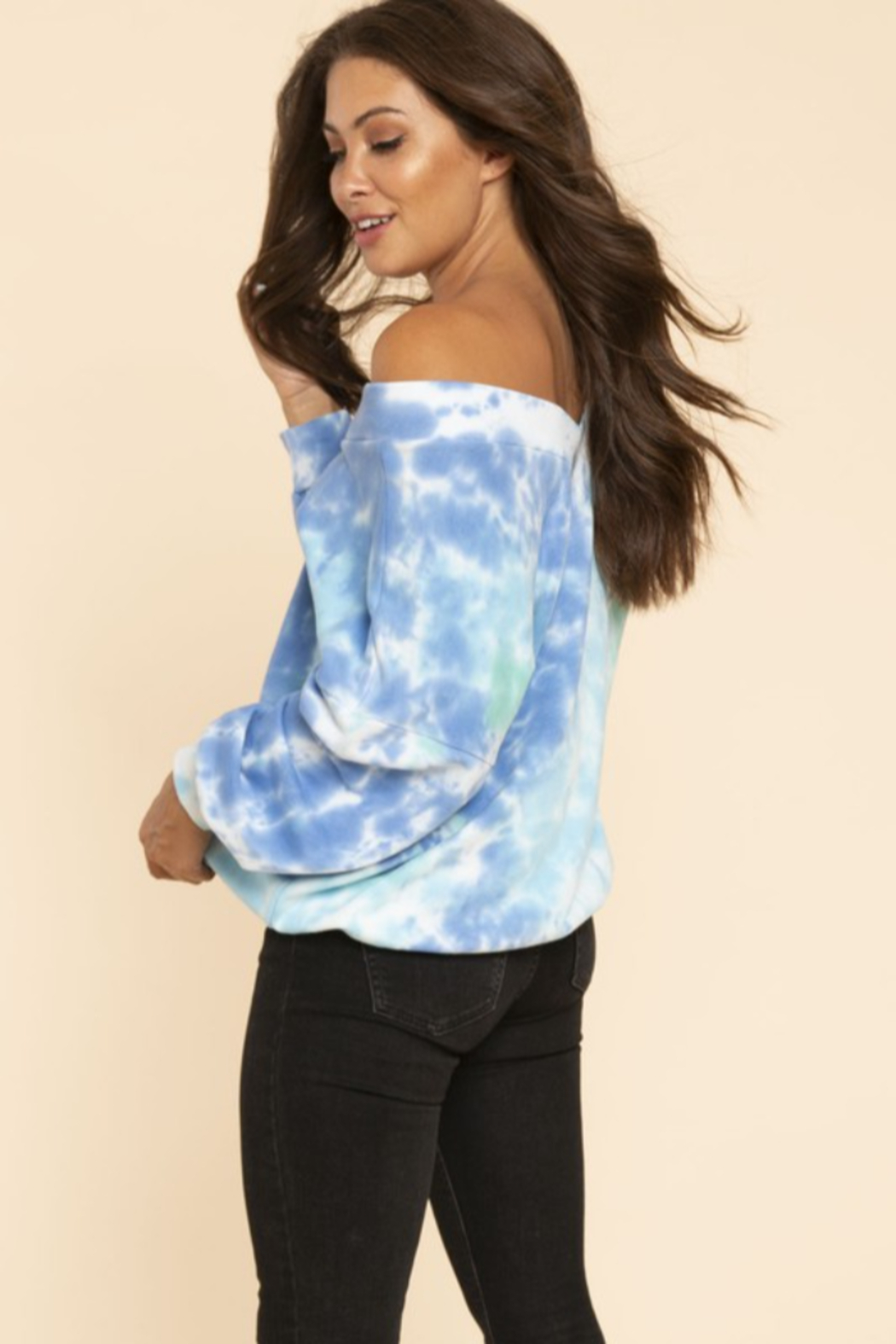 Blue Buttercup Oversized Tie Dye French Terry - Side Cropped Image