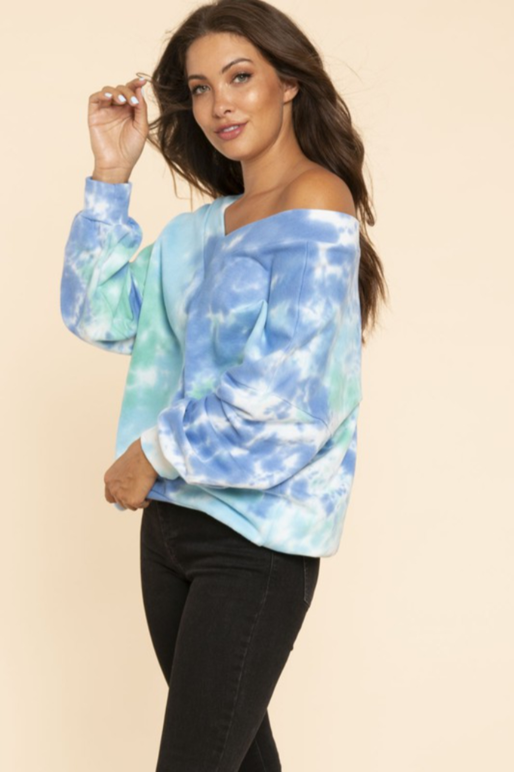 Blue Buttercup Oversized Tie Dye French Terry - Front Full Image