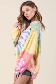Blue Buttercup Oversized Tie Dye Pullover - Front full body
