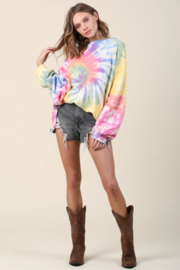 Blue Buttercup Oversized Tie Dye Pullover - Side cropped