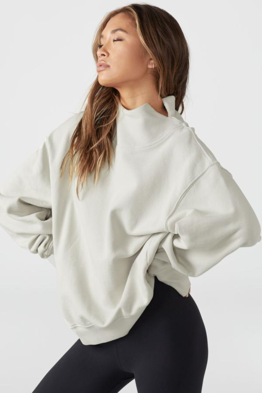 Joah Brown Oversized Turtleneck Sweatshirt - Front Cropped Image