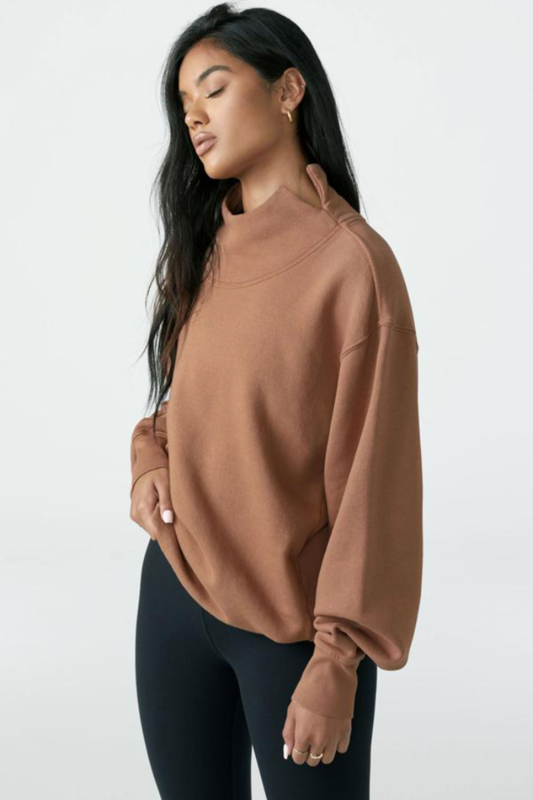 Joah Brown Oversized Turtleneck Sweatshirt - Side Cropped Image