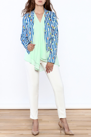 OVI Blue Stripe Print Blazer - Front full body
