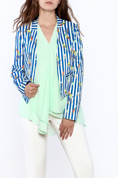 Shoptiques Product: Blue Stripe Print Blazer