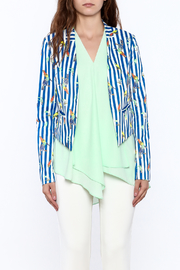 OVI Blue Stripe Print Blazer - Side cropped